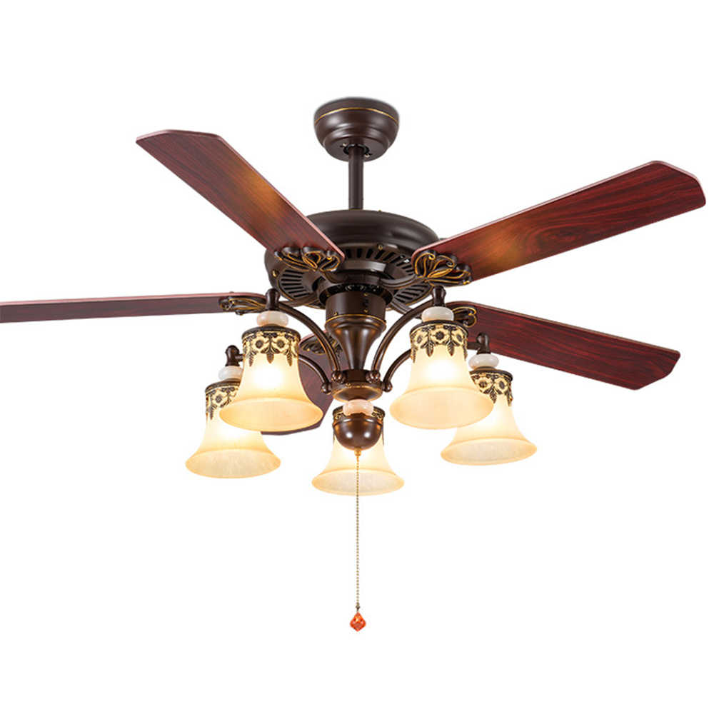 42 52 Inch Amercian Led Ceiling Fans With Light 5 Blades E27 Reverse Forward 132cm 108cm Country Wire Switch Wooden Fan Lamp Ceiling Fans Aliexpress
