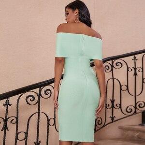 Image 3 - Cerf dame été femmes moulante robe de pansement 2019 nouveau vert hors épaule robe de pansement rayonne Sexy célébrité robes de soirée Club