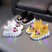 Chaussures de sport antidérapantes pour enfants, chaussures de dessin animé Disney Minnie Mickey à semelles souples pour garçons et filles