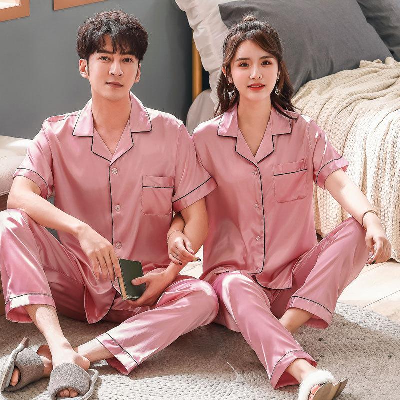 Couple Pajamas Sets Autumn Men And Women Silk Satin Pijamas Sleepwear Lover Home Night Suit Sleep Lounge Big Size M-XXXL