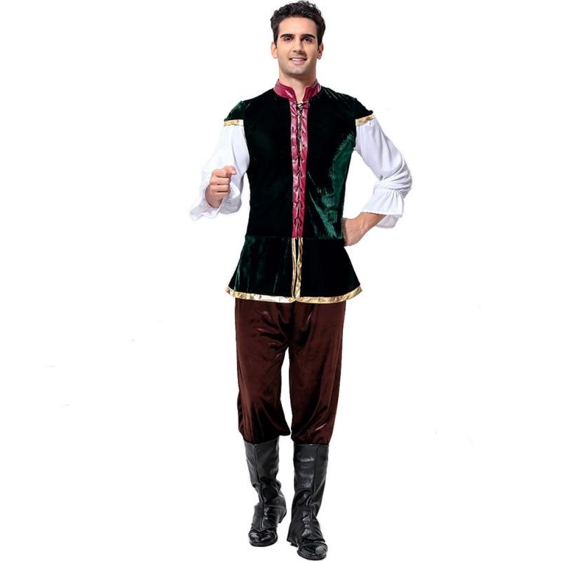 4pcs Oktoberfest Costume Bavarian German Festival Beer Halloween Men Beer Costumes Plus Size Pagoda Sleeve  Traditional Trousers