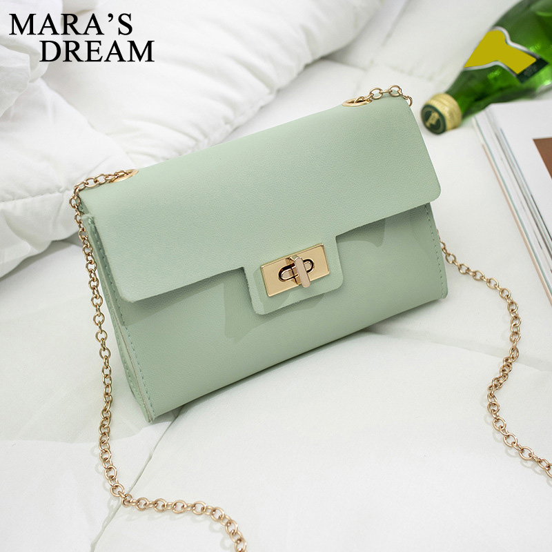 Mara's Dream 2020 New Pure Color Chain Bag Women's Fashion Shoulder Bag Lock Messenger Bag Simple Bag