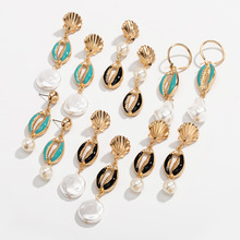 wing yuk tak Vintage Metal Shell Drop Dangle Earrings For Women Personality White Simulated Pearl Christmas Jewelry