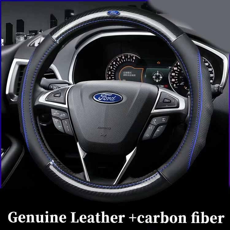 Fundas de volante de fibra de carbono de cuero genuino para Ford Grand c-max Fiesta Figo Fusion Mondeo Focus GT Ka Mustang Taurus