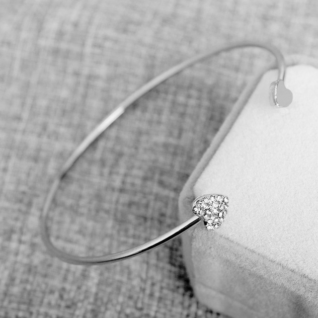 Hot New Fashion Women Mujer Pulseras Jewelry Gift Double CZ Heart Love Bracelet Bangle Adjustable Crystal Cuff Bracelets