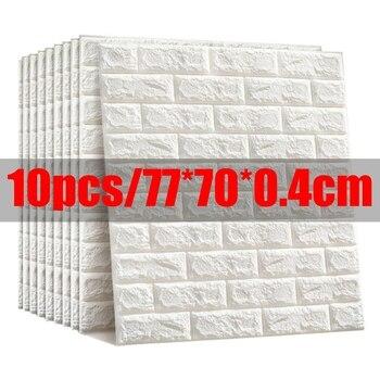 10pcs 3D Wall Sticker Imitation Brick Bedroom Decor Waterproof Self-adhesive Wallpaper For Living Room Kitchen TV Backdrop Decor