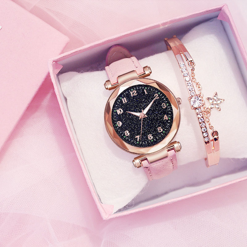 Fashion Women Watches Best Sell Star Sky Dial Clock Luxury  Women's Bracelet Ladies Watch Quartz Wristwatches Relogios Feminino