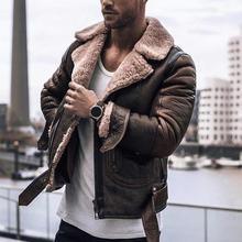 Men Coat Jacket Autumn Faux Leather Plus Size Casual Fashion Winter Fluffy