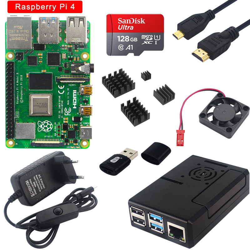 Official Rasperry Pi 4 2GB/4GB/8GB RAM Board + Case + Switch Power Supply + Card + Heat Sink + Cooling Fan for Raspberry Pi 4B