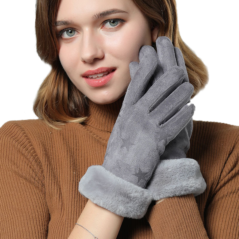 Sparsil Women Touch Screen Suede Glove Winter Artificial Rabbit Hair Wrist Mouth Gloves Thickening Warm Wool Fleece Mittens
