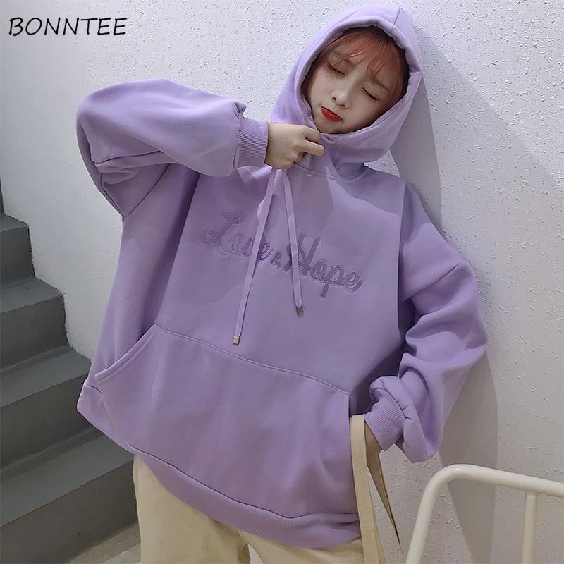 Hoodies Women Hooded Korean Style High Quality Letter Velvet Harajuku Pockets Womens Loose Leisure Pullover Streetwear Lovely