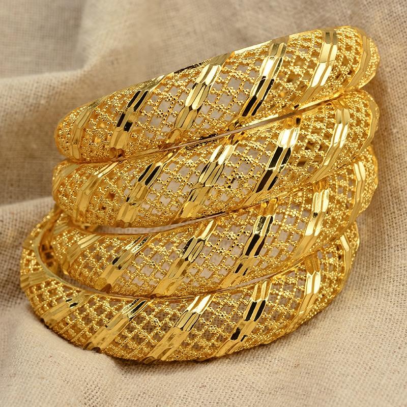 4Pieces Openabl Dubai 24K Gold Color Bangles Womens Wife Ethiopian Bracelets Africa Jewellery Arabic Ornaments