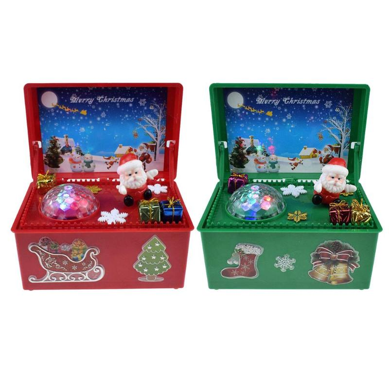 Electric Santa Claus Toys Musical Box Swing Doll With Light Christmas Decor