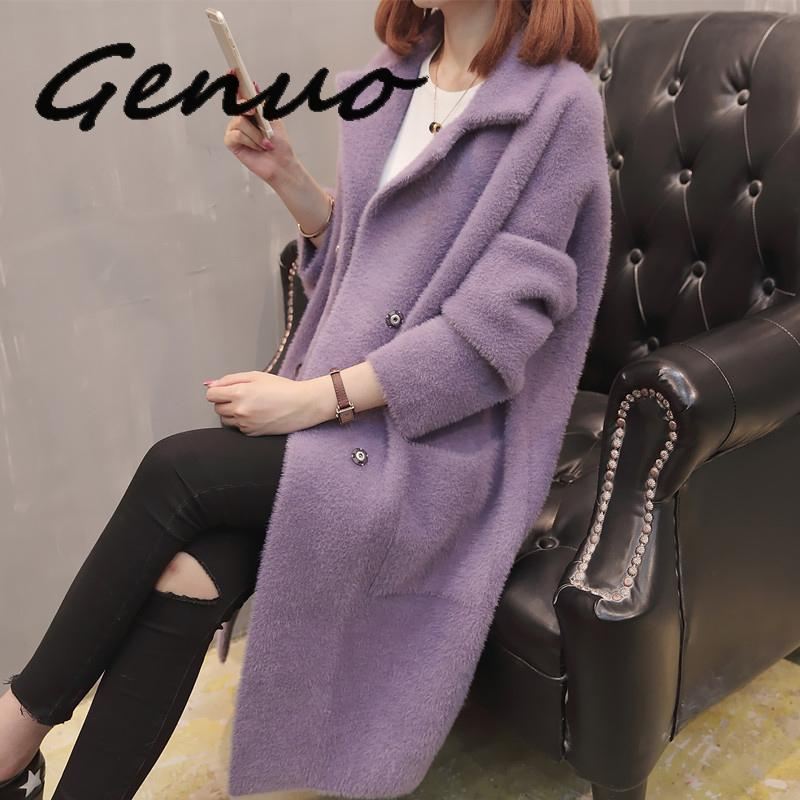 Women Knit Cardigan Long Coat Imitation Mink Cashmere Sweater Coats Female Autumn Winter Loose Outerwear Women's Sweaters 2020