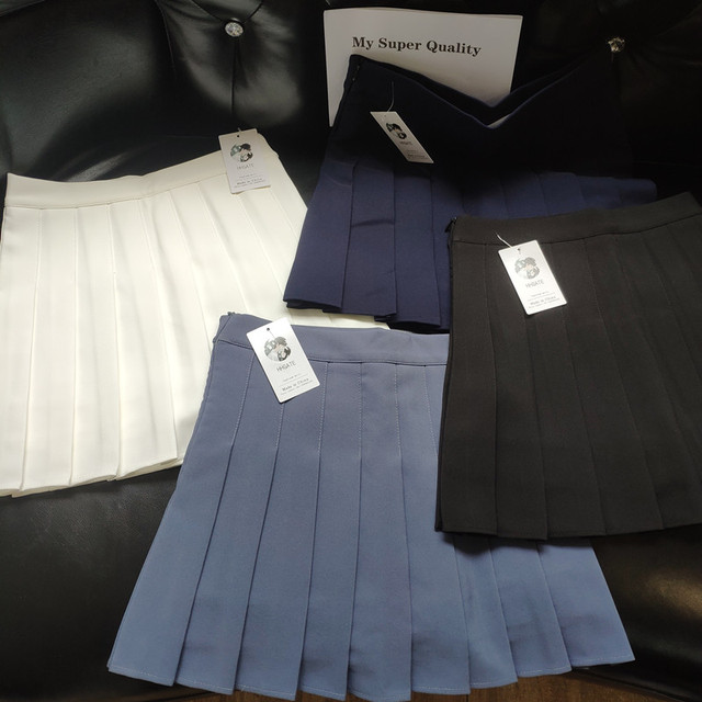 HHGATE XS-2XL High Waist Stitching Student Pleated Women Cute Sweet Girl Dance Mini Black White Blue Grey Skirts 5