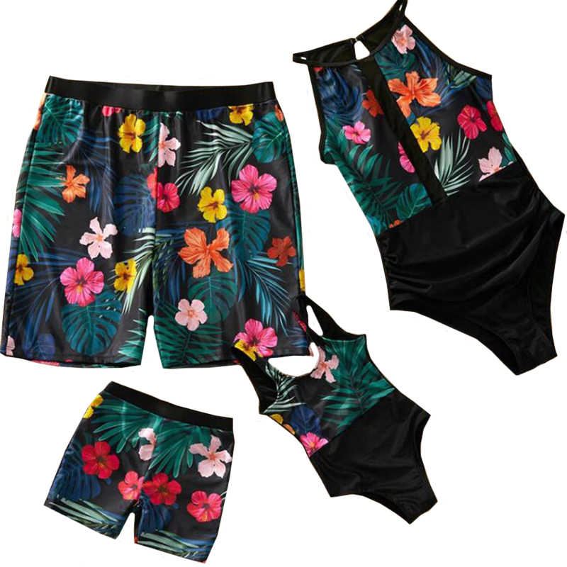 2020 New Flower Print Swimwear Family Matching Outfits Mother Daughter Bikini Swimsuits Mom and Me Clothes Dad Son Swimming