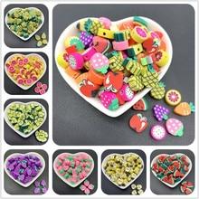 30 pçs/lote 10mm argila espaçador contas forma de frutas contas de argila polímero para fazer jóias diy artesanato artesanal acessórios