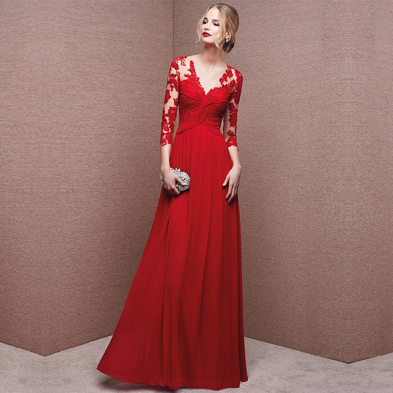 Lace Satin Young Lady Sexy Maxi Patchwork Chinese Prom Dresses With Buttons Sexy Cheongsam Appliques Red Evening Dress Qipao