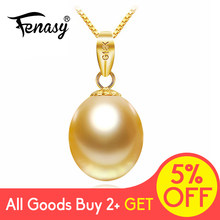 FENASY 18K Gold Peandant Pearl Jewelry Statement Necklaces For Women Lovers Party Pearl Pendants Send S925 Silver Necklaces(China)