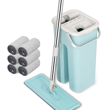 Flat Squeeze Mop and Bucket Hand Free Wringing Automatic Spin Avoid Microfiber Cloth for Wood Tile Lazy