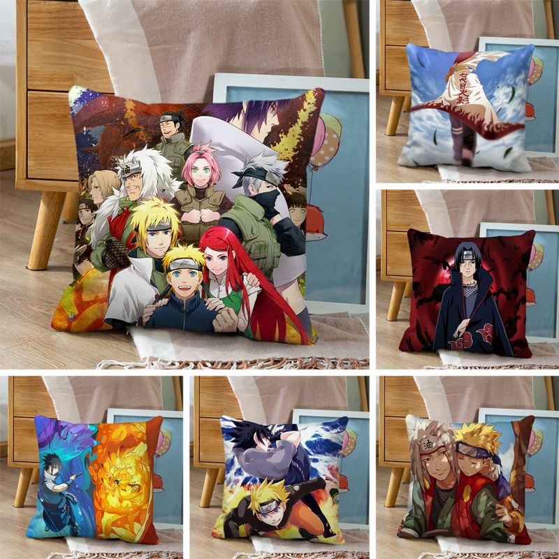 1pcs 45x45cm Naruto Sofa Pillowcase Polyester Pillowcase Office Sofa Cushion Pillowcase Waist Decorative Cushion Cover