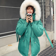 Women Short Winter Cotton Parkas Hooded Warm Loose Jacket Coat Large Fur Collar Cotton Padded Jacket Casual Outerwear(China)