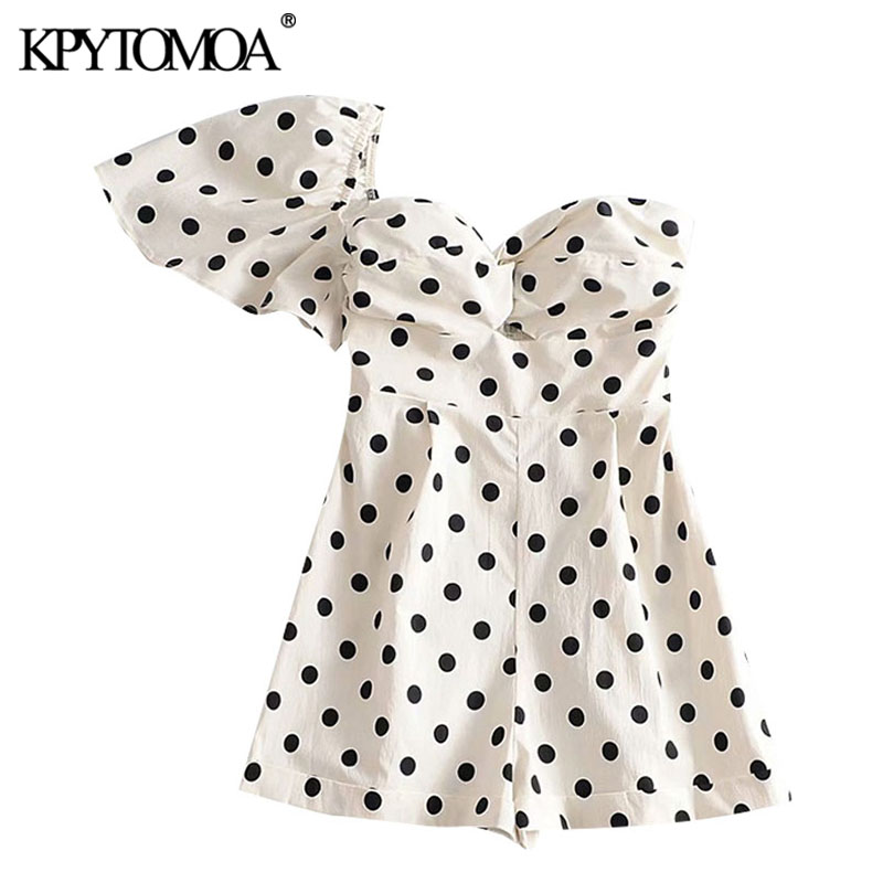 KPYTOMOA Women 2020 Chic Fashion Polka Dot Playsuits Vintage Asymmetric Sleeves Backless Stretchy Female Short Jumpsuits Mujer