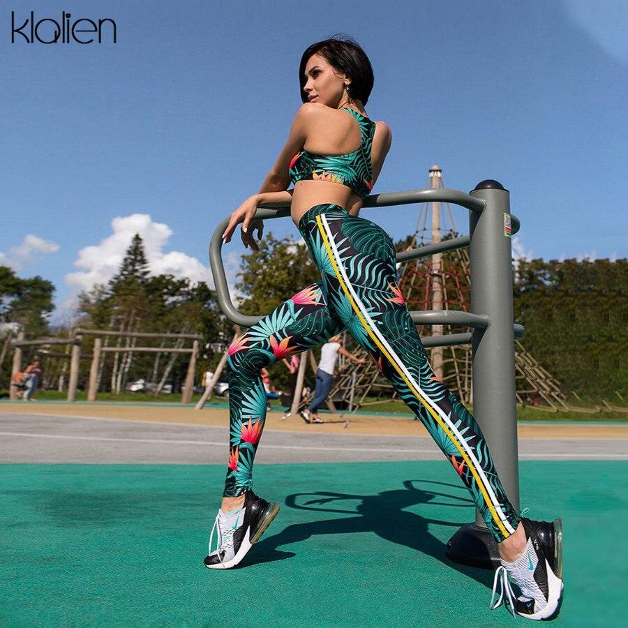 KLALIEN vest Top padded + Leggings elastic skinny tracksuit 2019 Fashion Active slim outfit Fitness sportswear women 2 Piece Set