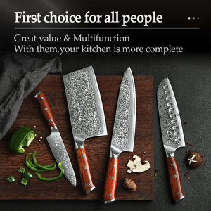 Image 5 - XINZUO 4PCS Kitchen Knife Set VG10 Damascus Steel Big Cleaver Chef Knives Stainless Steel Santoku Butcher Knife Rosewood Handle