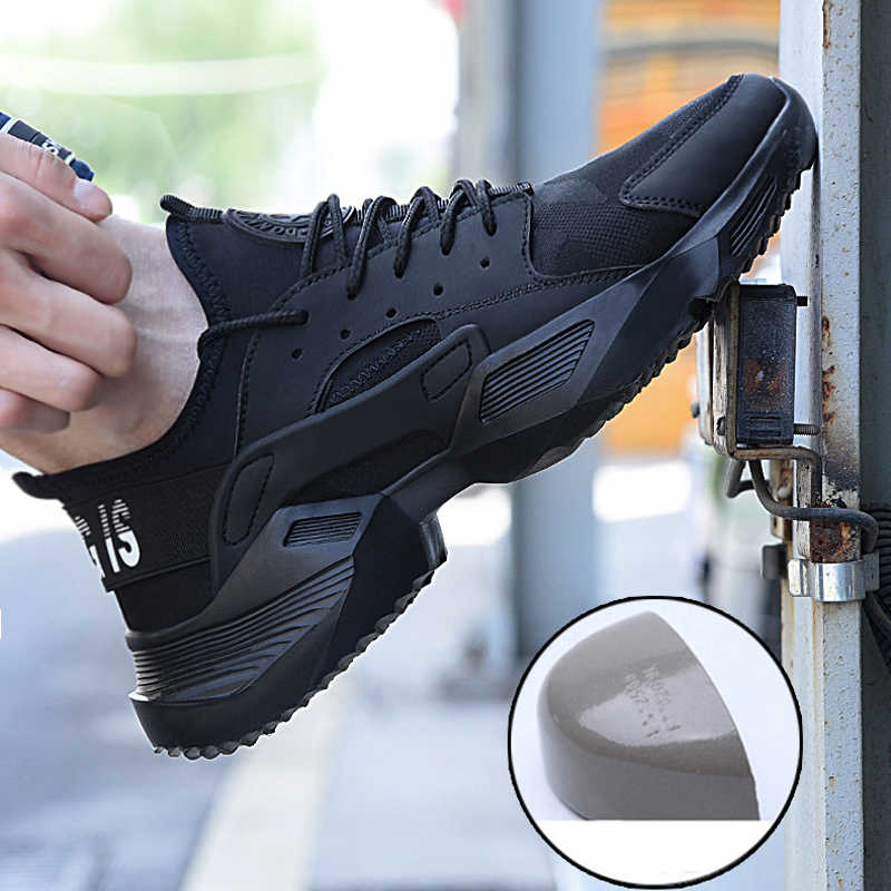 Yaz Moda Sneakers Mens Ultra hafif Yumuşak Iş Güvenliği Ayakkabıları Erkek Örgü Nefes Rahat kaymaz Çelik Ayak iş çizmeleri