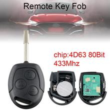 1pcs 433Mhz 3 Buttons Durable Car Remote Key with 4D63 80Bit Chip and FO21 Blade fit for Ford Fusion Focus Mondeo Fiesta Galaxy