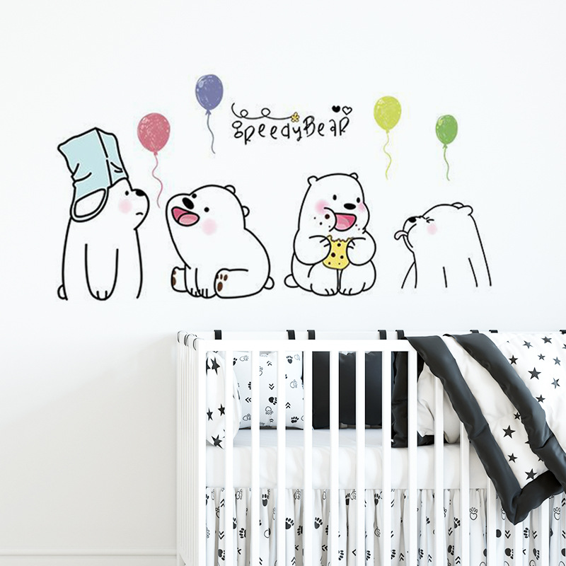 Cute Lazy Bear Wall Stickers Bedroom Kids Baby Rooms Home Decoration Art Mural Cartoon Animals Stickers Nursery Wallpaper