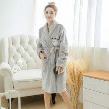 Flannel waist ladies pajamas robe tortoise cartoon thick  bathrobe Winter long-sleeve casual Sleepwear Women