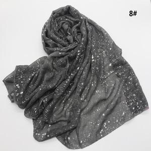 Image 1 - Новый мусульманский хиджаб 90*180 см, шарф для женщин, исламский мягкий Блестящий головной платок, женский платок, простые шали и палантины, Женский палантин