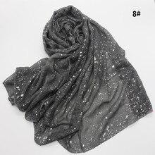 90*180cm nowy muzułmaninem hidżab szalik dla kobiet islamski miękkie glitter chustka na głowę chustki na szyję femme zwykły szale i chusty panie stole