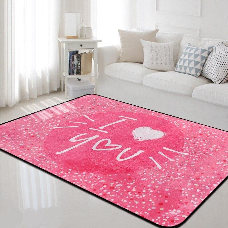 Nordique rose amour tapis et tapis salon chambre canapé Table antidérapant tapis de sol Rectangle Super doux enfants jouer jeu Tapete