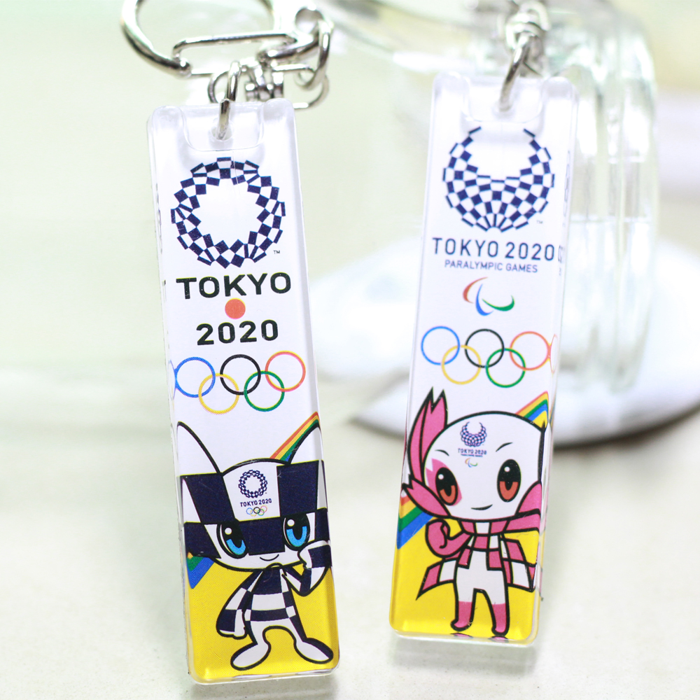 Latest Tokyo Olympic Games Anniversary Small Gifts Keychain 2020 Acrylic Double-Sided Colour Printing Mascot Cartoon Key Ring