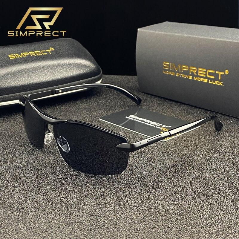 SIMPRECT Fashion Polarized Sunglasses Men 2020 Rimless Retro Square Sunglasses UV400 Anti-glare Driver's Sun Glasses For Men
