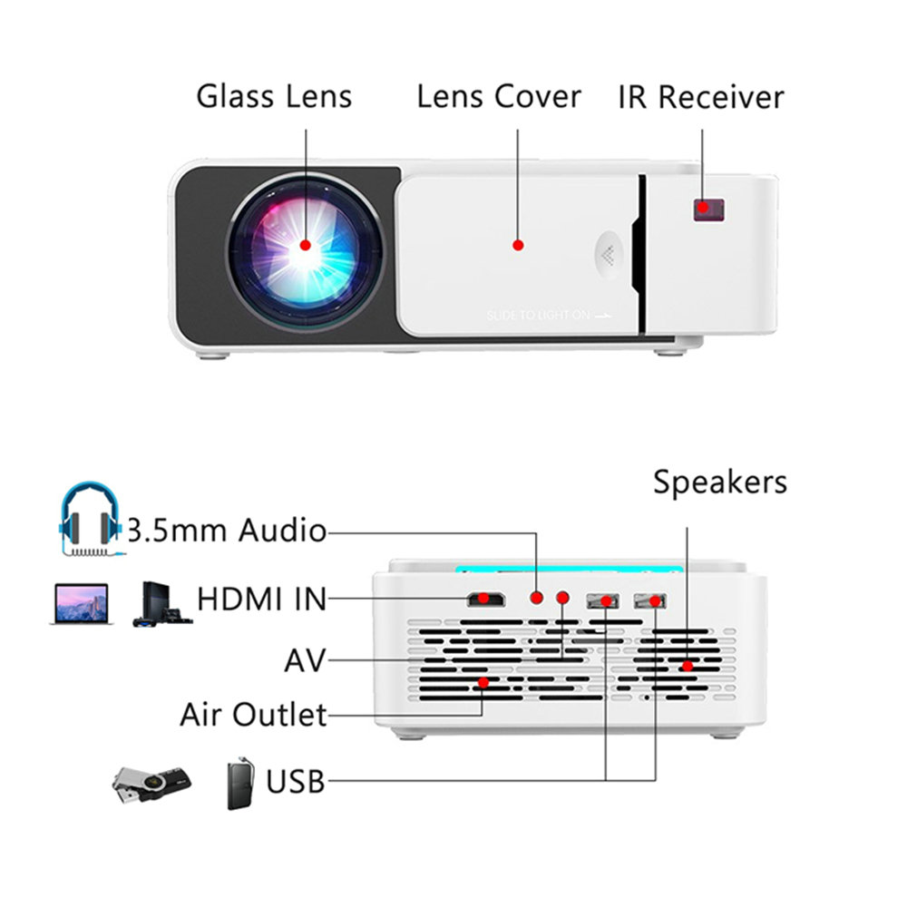 VIVICINE Newest V200 1280X720P LED HD Projector, Optional Android 7.1 Bluetooth,Support 4K Wifi HDMI USB LCD Home Theater Beamer 12