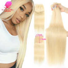 613 Honey Blonde Human Hair Straight Brazilian Hair Weave Bundles with Closure 4x4,613 Blonde Hair Deals 3 4 Bundles and Closure
