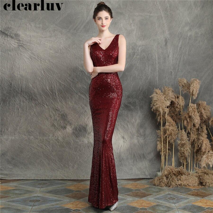 Deep V-neck Mermaid Evening Dress Burgundy Sequined Women Party Dress DX256-6 2019 Plus Size Robe De Soiree Elegant Formal Gown