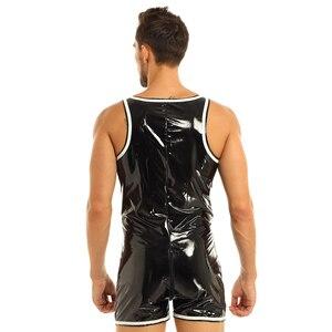 Image 4 - Mens הלבשה תחתונה גוף גרב סקסי בגד גוף מקשה אחת מראה רטוב Clubwear מול רוכסן מתאגרף תחתוני בגד גוף בגד גוף מסיבת תחפושות