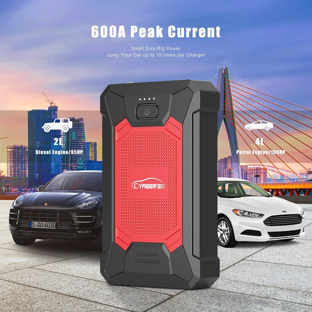 Yaber 12000mAh Jump Starter Emergency Car Jump Starter Battery Power Bank Auto Booster Peak600A Portable Air Compressor Car Pump