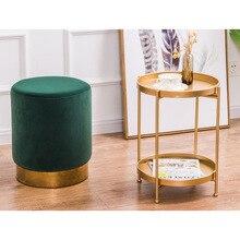 Золотой чугунный литой Мини-столик с боковым концом для чайного торта, журнальный столик, съемный поднос, стол для гостиной, диван, центральный стол, телефонная стойка