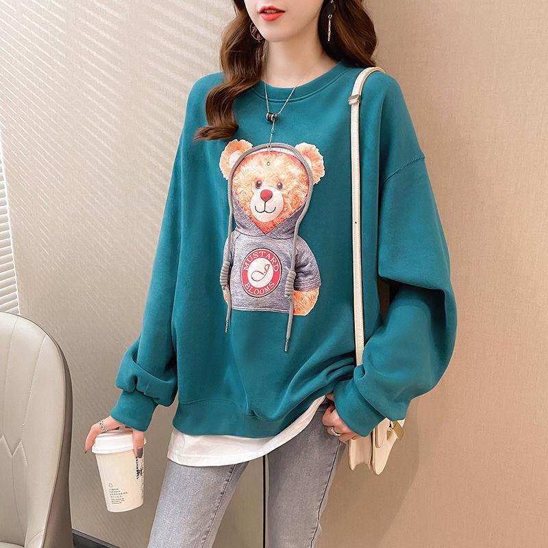 Женский пуловер с круглым вырезом, тонкая спортивная одежда, Модный корейский топ с имитацией двух предметов на весну и осень, 2021
