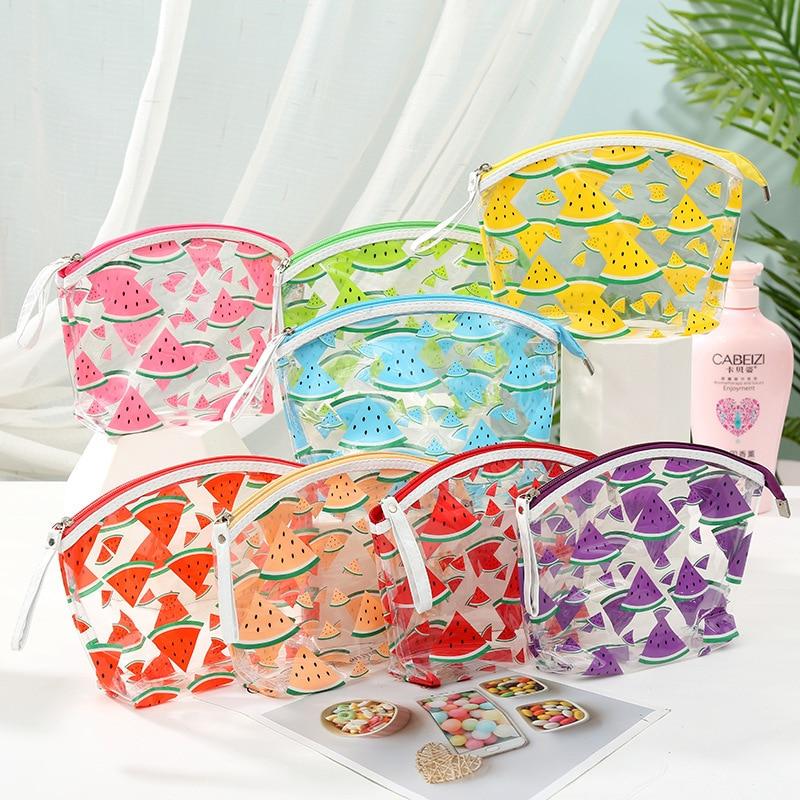 Fashion Full Fruit Print Cute Waterproof Transparent Beauty Kit Wash Zipper Makeup Beach Pouch Clear PVC Cosmetic Bag