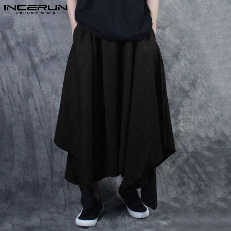 INCERUN Men Harem Pants Elastic Waist Streetwear Loose 2020 Fashion Irregular Skirt Trousers Men Solid Joggers Casual Pants 5XL