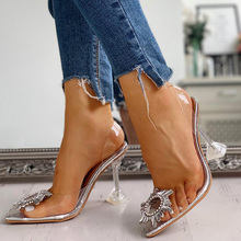 Transparent Rhinestone Heels Women Summer Sandals New Ladies Ankle Strap High Pumps Wedding Party Club Sexy Block Heel Shoes D25 new sexy blue suede sandals women cool rhinestone jeweled high heels shoes summer cut outs ankle strap party shoes pumps jawakye