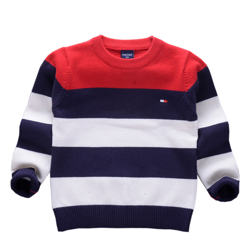 Elegant Cotton Boys Striped Sweaters Winter Fall Spring Pullover Knitted Wear Warm Children's Clothing