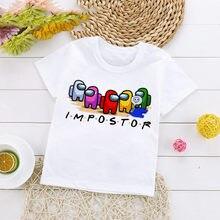 Novo jogo entre os eua cartoon t camisa para crianças verão superior impostor gráfico tees meninos meninas engraçado anime tshirt bonito crianças roupas